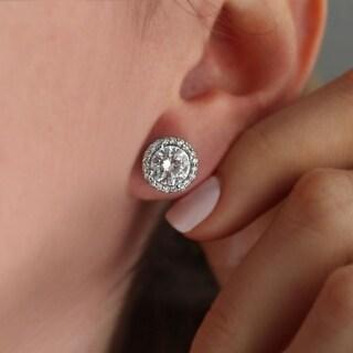 TwoBirch 14K White Gold Diamond Halo Moissanite Stud Earrings (2 1/2 Carats TWT)