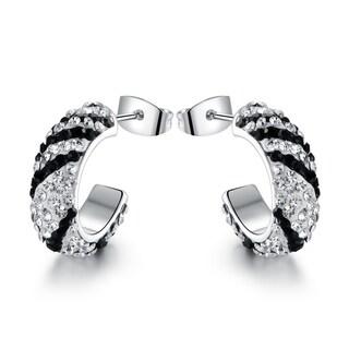 Rhodium Plated Swarovski Crystal Zebra Print Hoop Earrings