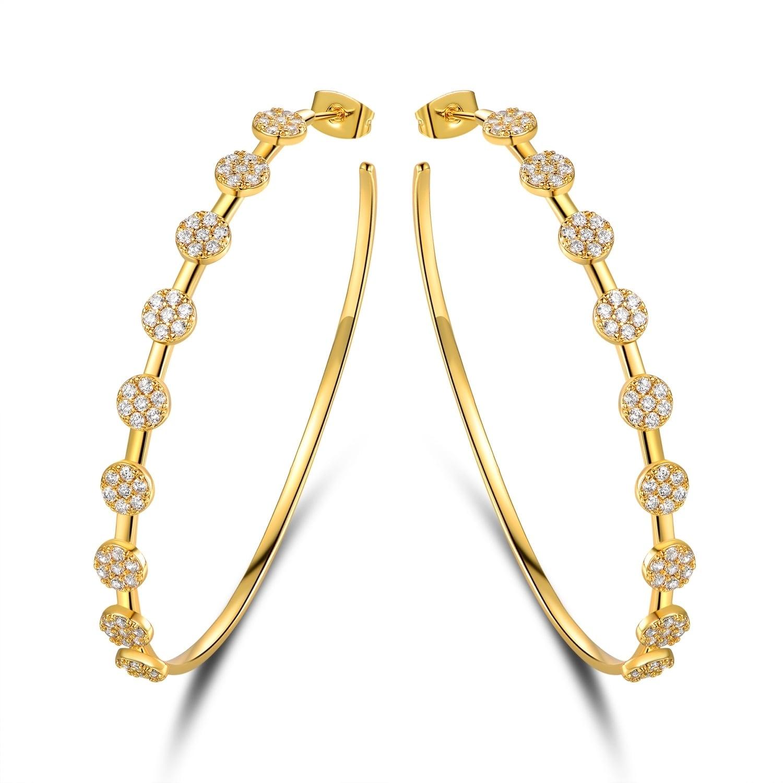 Gold Plated Swarovski Crystal Hoop Earrings