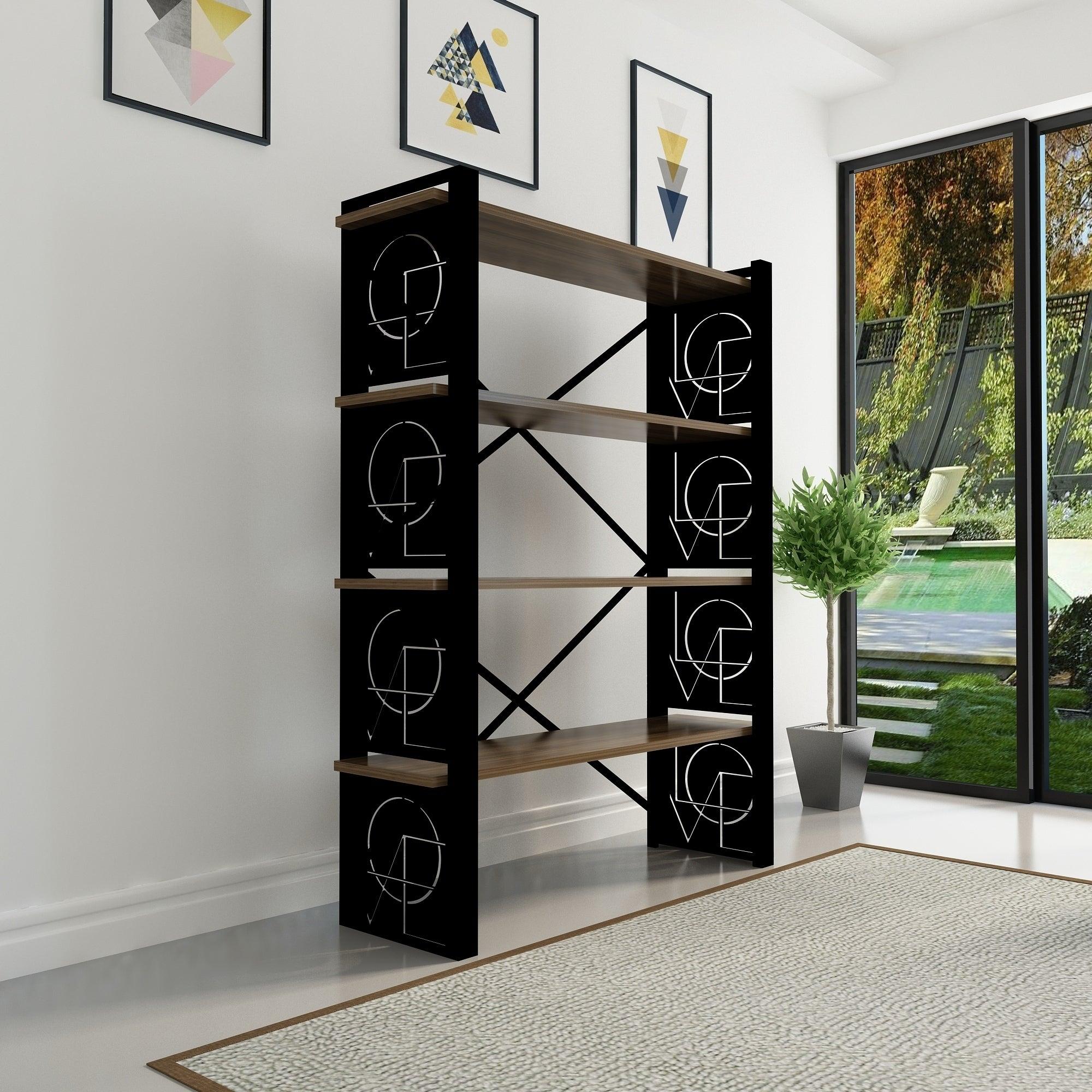 Decorotika Amado Black Sand Metal Wood 59 Inch Bookcase