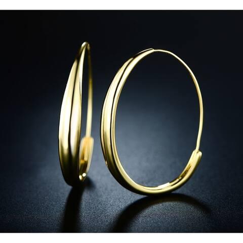 Tubular Hoop Earrings Made with 18k Yellow Gold Overlay