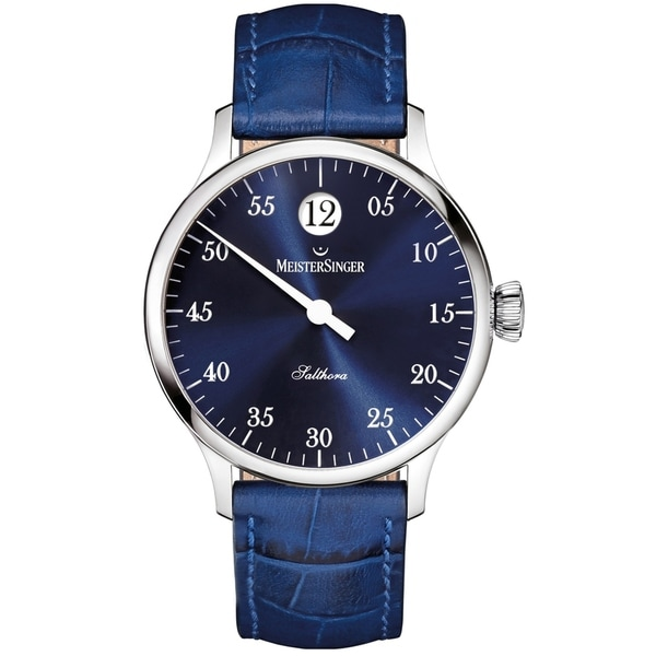 86f086d66 Shop MeisterSinger Men's SH908 'Salthora' Blue Dial Blue Leather Strap  Jumping Hour Automatic Watch - Free Shipping Today - Overstock - 24183772