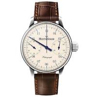8e45e4cc7 MeisterSinger Men's SC103 'Paleograph' Cream Dial Brown Leather Strap  Chronograph Automatic Watch
