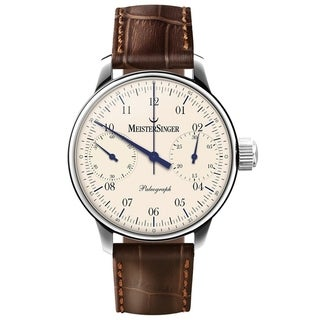 MeisterSinger Men's SC103 'Paleograph' Cream Dial Brown Leather Strap Chronograph Automatic Watch