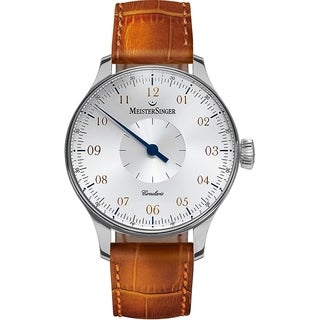 MeisterSinger Men's CC101 'Circularis' Silver Dial Beige Leather Strap Single Hand Automatic Watch