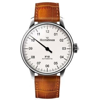 MeisterSinger AM901 'No 3' White Dial Beige Leather Strap Singe Hand Automatic Watch