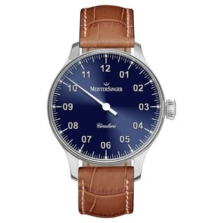 MeisterSinger Men's CC308 'Circularis' Blue Dial Brown Leather Strap Automatic Watch