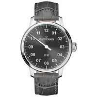 16396e25b MeisterSinger Men's AM6607 'No 2' Black Dial Black Leather Strap Single  Hand Automatic Watch