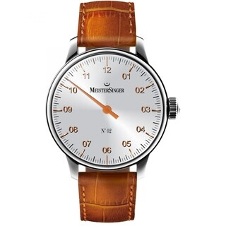 MeisterSinger Men's AM6601G 'No 2' Silver Dial Beige Leather Strap Single Hand Automatic Watch