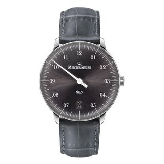 MeisterSinger Men's NE907 'Neo' Grey Dial Grey Leather Strap Single Hand Date Automatic Watch