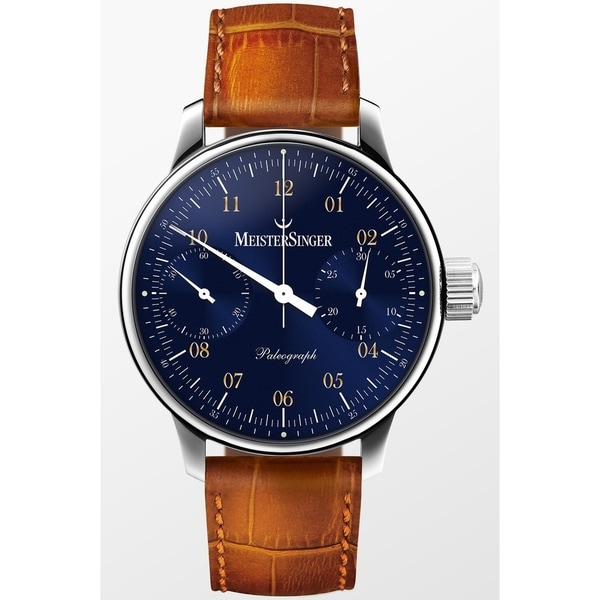 3fe645c61 Shop MeisterSinger Men's ED-SC108 'Paleograph' Blue Dial Brown Leather  Strap Chronograph Automatic Watch - Free Shipping Today - Overstock -  24183786