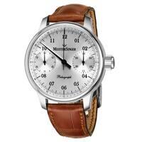 f93e39fd3 MeisterSinger Men's ED-SC101 'Paleograph' Silver Dial Black Leather Strap  Chronograph Automatic Watch