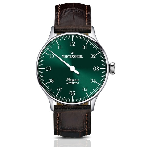 49fb3029a Shop MeisterSinger Men's PM909 'Pangaea' Green Dial Brown Leather Strap  Single Hand Automatic Watch - Free Shipping Today - Overstock - 24183969