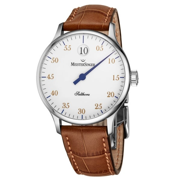 6a7b419af Shop MeisterSinger Men's SH901G 'Salthora' White Dial Brown Leather Strap  Jumping Hour Automatic Watch - Free Shipping Today - Overstock - 24183972