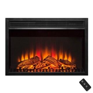 "AKDY 30"" Black Freestanding 1 Settings Logs Electric Fireplace Heater w/ Remote"