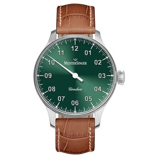 MeisterSinger Men's CC309 'Circularis' Green Dial Brown Leather Strap Automatic Watch