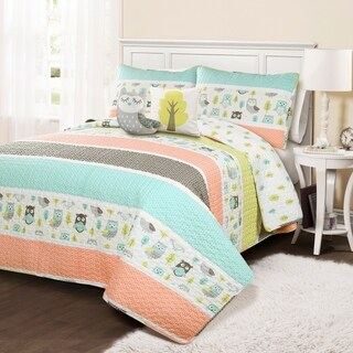 Lush Decor Owl Stripe Quilt Set