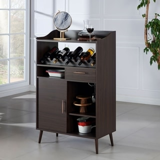 Furniture of America Umer Contemporary Wenge 31-inch Wine Rack Buffet