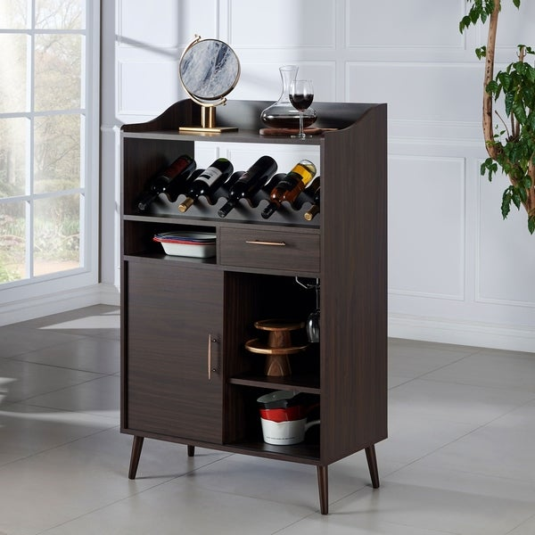 Furniture of America Umer Contemporary Wenge 31-inch Wine Rack Buffet. Opens flyout.