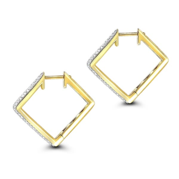 7277a6d299986 Shop 14K Gold Ladies Round Pave Kite Diamond Hoop Earrings 0.65ctw ...