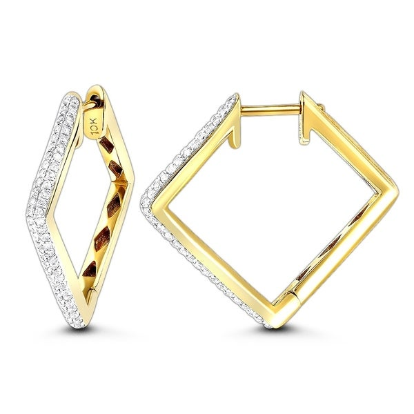 10K Womens Ladies Wthie Gold Rounnd Cut Diamond Pave Hoops Earrings 9 MM