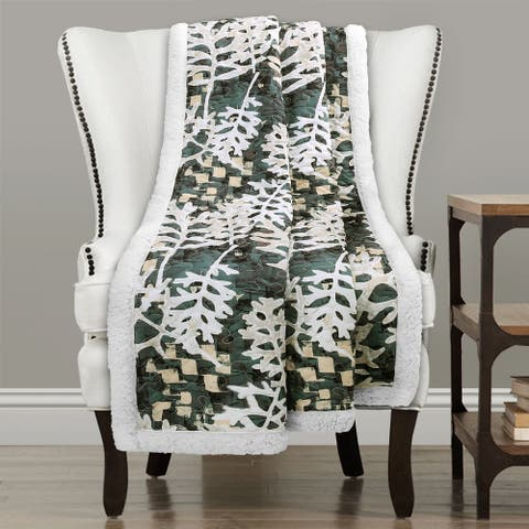Lush Decor Camouflage Leaves Sherpa Throw