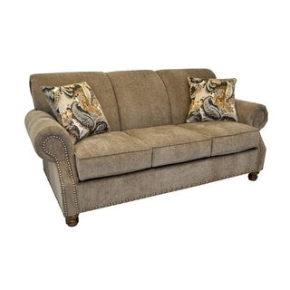 Frankie Khaki Sofa with Nailhead Trim