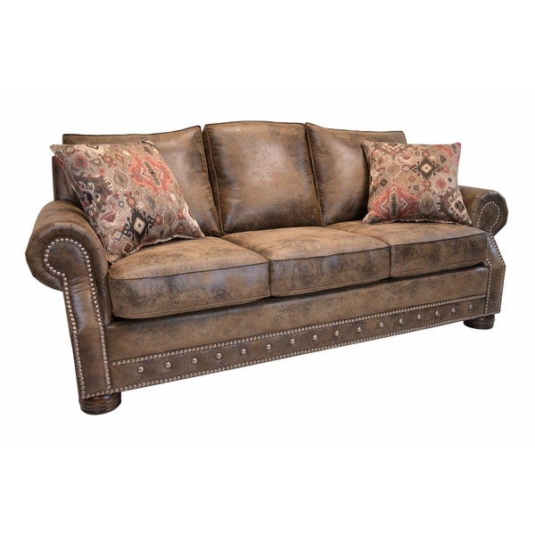 Magnus Brown Southwestern Sofa With Nailhead Trim