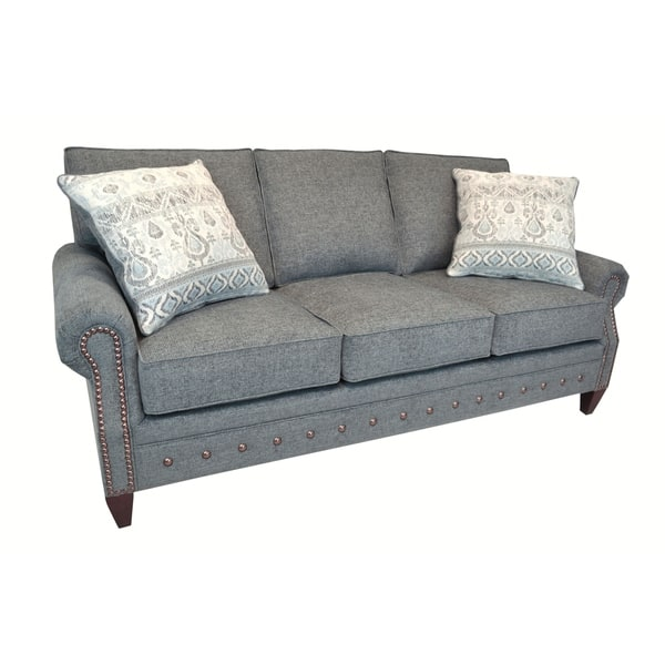 Grey Fabric Sofa With Nailhead Trim