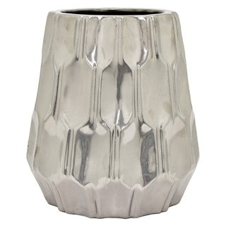 Three Hands Ceramic Vase-Silver