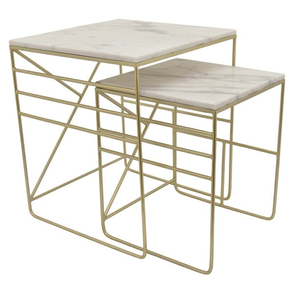 Three Hands Metal Marble Top Table Set