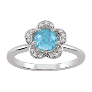 Sterling Silver March Birthstone Flower Blue Cubic Zirconia Ring