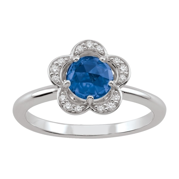 ff74b40f3 Shop Sterling Silver September Birthstone Flower Blue Cubic Zirconia Ring -  On Sale - Free Shipping Today - Overstock - 24184179
