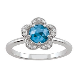 Sterling Silver December Birthstone Flower Blue Cubic Zirconia Ring