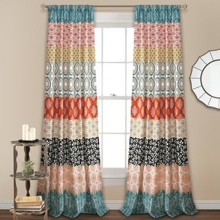 "Lush Decor Bohemian Stripe Window Curtain Panel Pair - 84"" x 52"""