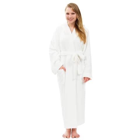Women's Hooded Plush Robe, Long Fleece Solid Robe