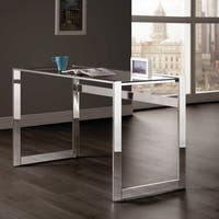 Silver Orchid Ipsen Modern Chrome and Glass Top Writing Desk