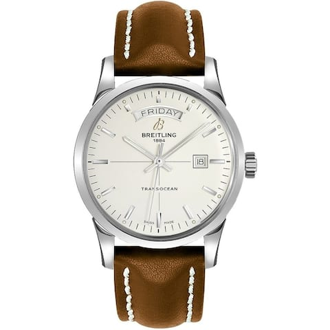 Breitling Men's A4531012-G751-437X 'Transocean' Automatic Brown Leather Watch