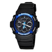 Casio Men's AW591-2 'G-Shock' Chronograph, Time Zone Black Resin Watch