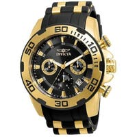 Invicta Men's 22312 'Pro Diver' Scuba Black and Gold-Tone Polyurethane and Stainless Steel Watch