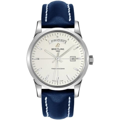Breitling Men's A4531012-G751-105X 'Transocean' Automatic Blue Leather Watch