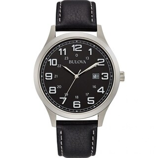 Bulova Men's 96B276 'Dress' Black Leather Watch