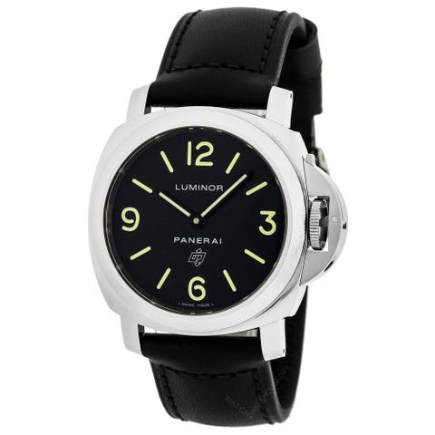 Panerai Men's PAM01000 'Luminor' Automatic Black Leather Watch