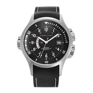 Hamilton Men's H77615333 'Khaki Navy' GMT World Time Automatic Black Rubber Watch
