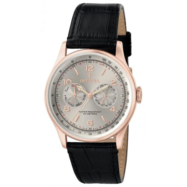 Invicta Men's 6753 'Vintage' Black Leather Watch