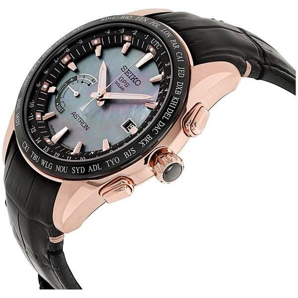 Shop Seiko Men S Sse105 Astron Gps Solar Novak Djokovic Limited Edition World Time Black Leather Watch On Sale Overstock 24185966