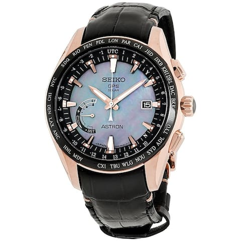 Seiko Men's SSE105 'Astron GPS Solar Novak Djokovic Limited Edition' World Time Black Leather Watch