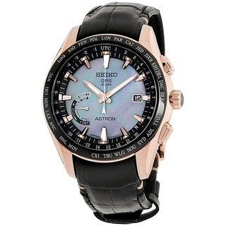 Link to Seiko Men's SSE105 'Astron GPS Solar Novak Djokovic Limited Edition' World Time Black Leather Watch Similar Items in Men's Watches