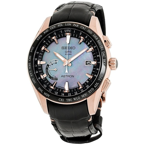 Seiko Men's SSE105 'Astron GPS Solar Novak Djokovic Limited Edition' World Time Black Leather Watch. Opens flyout.