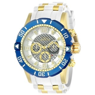 Invicta Men's 23706 'Pro Diver' Scuba White and GLD Ins Polyurethane and Stainless Steel Watch